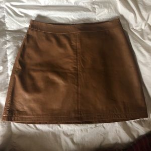 Cupcakes & Cashmere camel brown leather miniskirt